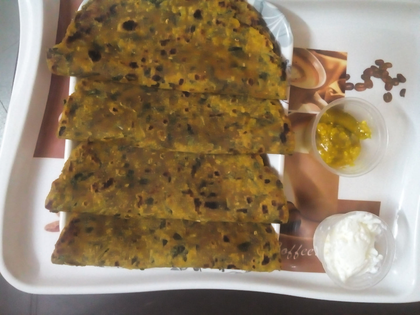 Methi Thepla (4) with Mirchi Pickle, Papad & Curd