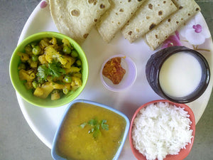 Aloo-Matar-Gobi mix Sabji with Chapati, Dal, Rice, Pickle, Papad & Buttermilk