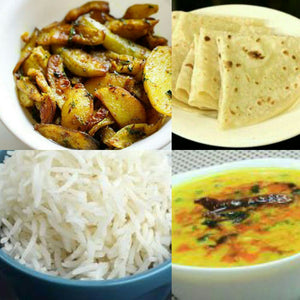 Dal Tadka,Steam Rice,Chatpate Aloo,Roti,Salad,Pickle,Papad,Sweet