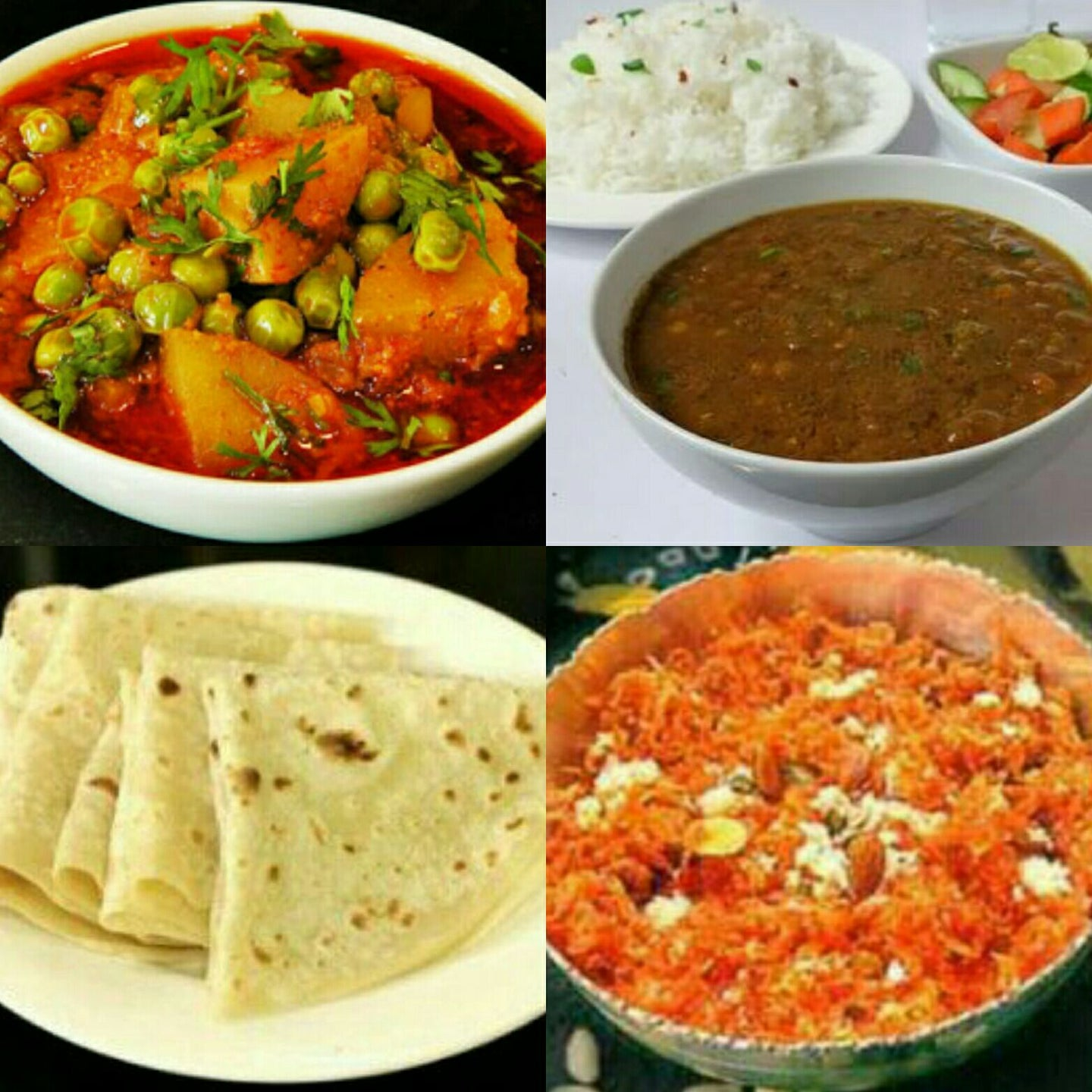 Spl Masoor Dal Tadka,Steam Rice,Roti- or-Paratha-3,Aloo Mutter,Pickle, Papad,Salad,Gajer ka Halwa
