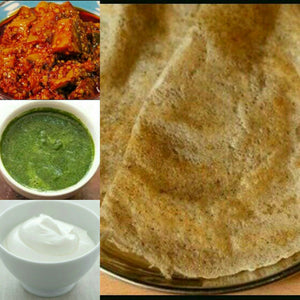 Spl Moong Dal Chilla-3,Dahi,Pickle,Pudina,Chutney,Sweet