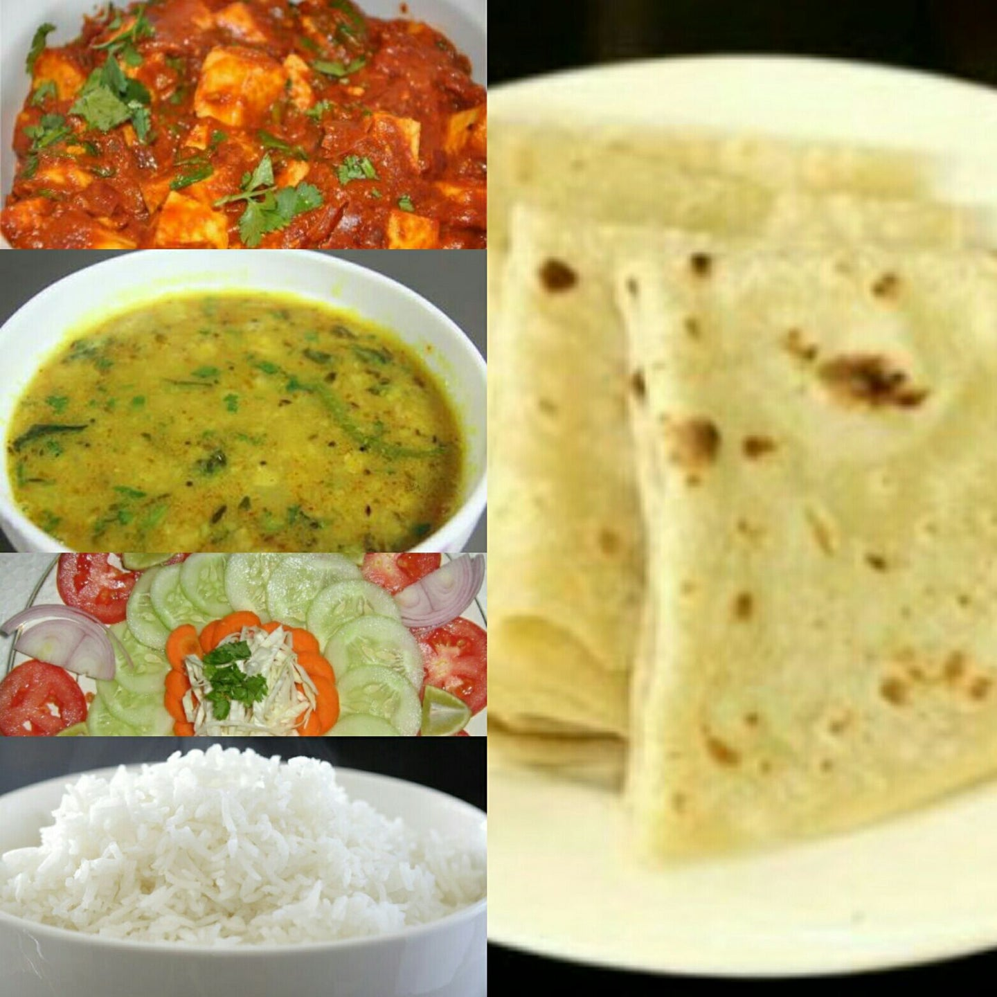 Paneer Matter Masala with Dal Tadka, Steam Rice, Roti(3),Salad,Papad, Pickle