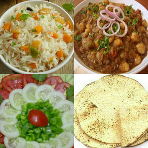 Carrot Pulav with Chole Masala Spl, Salad, Papad, Pickle