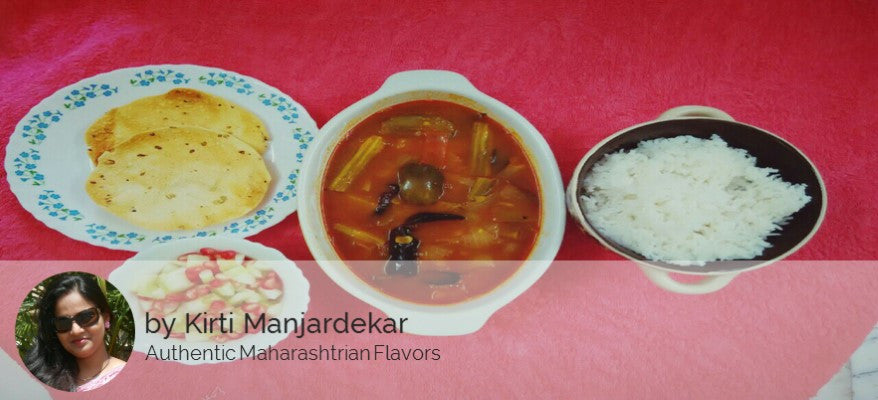Vegetable Rasam (Sambar) ,Steamed Rice, Roasted Papad and Salad -  - Homely - By Kirti Manjardekar