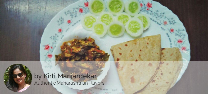 Bhendi ki Sabji with Roti and Salad -  - Homely - By Kirti Manjardekar