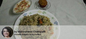 Mixed Vegetables Pulav  Cucumber Tomato Onion Raita With Mango Muffin -  - Homely - By Maheswari Dukkipati
