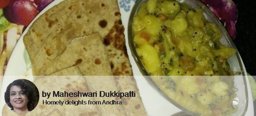 Potato Masala, Plain Paratha with Pear pecan Muffins -  - Homely - By Maheswari Dukkipati - 1