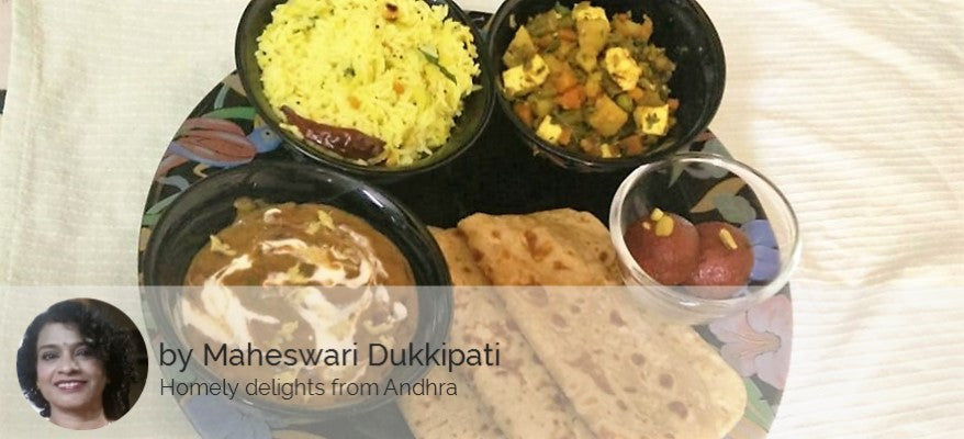 Dal Makhani with Mixed Vegetables, Roti, Raw Mango Rice and Gulab Jamun / Quadruple Chocolate Cake (Egg) -  - Homely - By Maheswari Dukkipati