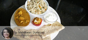 Mutter Paneer, Vegetable Pulav, Roti, Curd (Sweet/Salty), Mango Muffin (Eggless) filled with Butter Cream -  - Homely - By Maheswari Dukkipati - 2