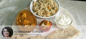 Mutter Paneer, Vegetable Pulav, Roti, Curd (Sweet/Salty), Mango Muffin (Eggless) filled with Butter Cream -  - Homely - By Maheswari Dukkipati - 1