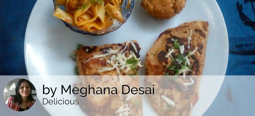 Chicken Pizza Paratha (Veges Shredded with Chicken & Cheese) with Chicken Fettuccine Pasta (Arabitta) & Eggless Walnut Banana Muffin -  - Homely - By Meghana Desai