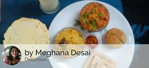 Dum Aloo Masala with Chapattis, Dal khichadi with Pickle, Papad, Eggless Cake with Pudina Buttermilk -  - Homely - By Meghana Desai