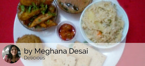 Til Wale Aloo Dry with Chapattis, Veg Pulao and Tomato Rasam, Pickle with Date Walnut Muffin and Fruits -  - Homely - By Meghana Desai