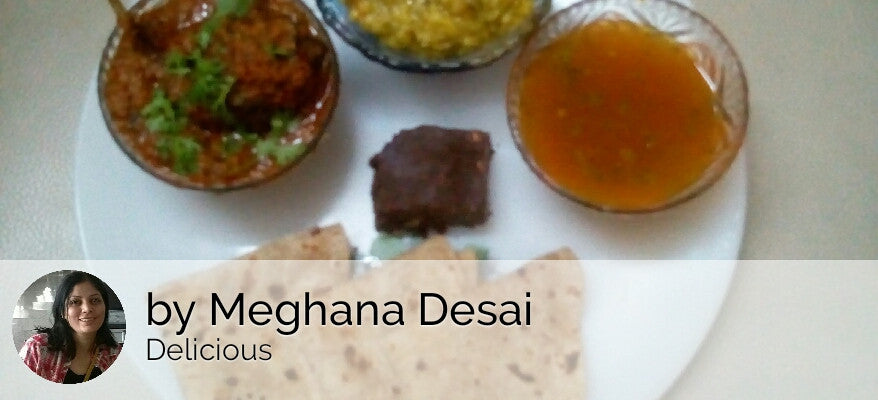 Baingan Masala with Chapattis and Palak Khichdi with Pickle and Fruits Dessert. -  - Homely - By Meghana Desai