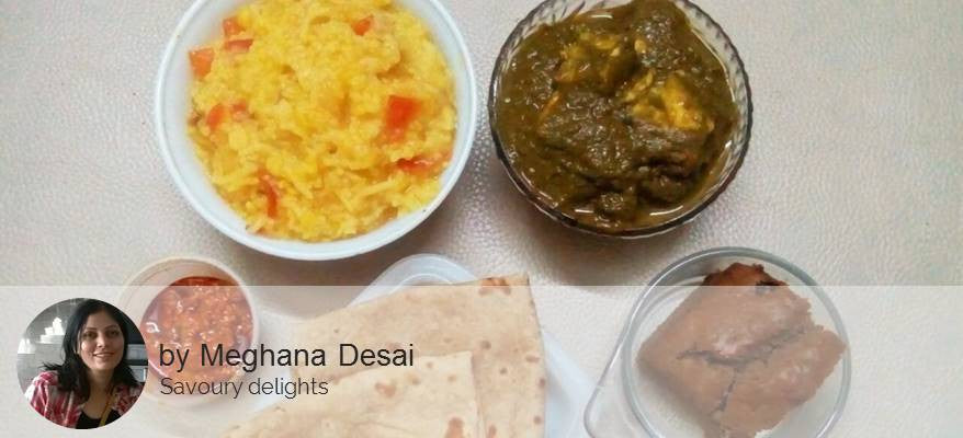 Palak Paneer, Chapattis with Eggless Banana Cake and Buttermilk -  - Homely - By Meghana Desai