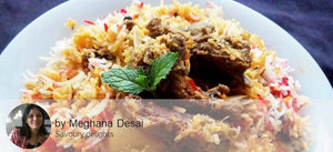 Mutton Biryani with Cucumber Raita and Fruits and Dessert. -  - Homely - By Meghana Desai