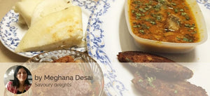 Ravas Fry(2), Ravas Curry, Chapatis/ Amboli, Fruit Plate and Eggless Cake. -  - Homely - By Meghana Desai
