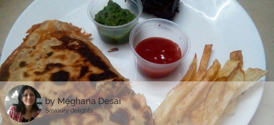 Veg Pizza Paratha (2) - Mix. Vegetables with Cheese & Topped on Special Homemade Sauce & Paratha Base -  - Homely - By Meghana Desai