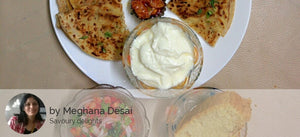 4 Assorted Parathas (2 aloo and 2 paneer), Dahi, Pickle and chocolate brownie square -  - Homely - By Meghana Desai - 2