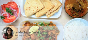 Maharashtrian style Chicken Dry, Chapatis, Jeera Rice, Chicken Rasa, Salad and eggless Banana Walnut Cupcake -  - Homely - By Meghana Desai - 1