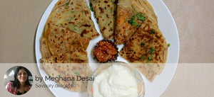 4 Assorted Parathas (2 aloo and 2 paneer), Dahi, Pickle and chocolate brownie square -  - Homely - By Meghana Desai - 1