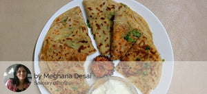 Aloo Onion Cheese Parathas (3), Fried Aloo Bhindi Dry, Dahi, Pickle and Eggless Truffle Chocochip Muffin -  - Homely - By Meghana Desai