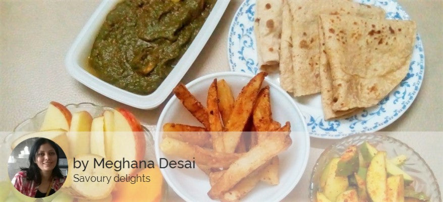 Palak Paneer with Chapattis, Masala Fries and Fruits