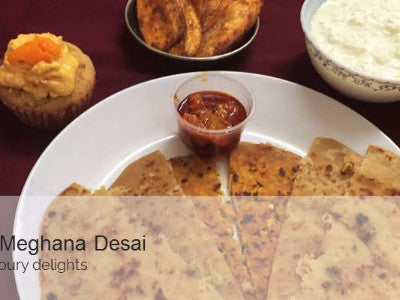 Assorted Paratha ( Paneer Paratha, Aloo Cheese and Lemony Aloo), Chole Masala with Pickle, Curd and Dessert & Rose cooler