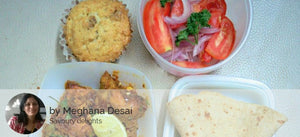 Maharashtrian Style Chicken Gravy, Chapattis, Green Salad with Egg less Banana Walnut Cupcake. -  - Homely - By Meghana Desai