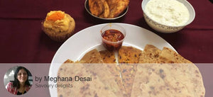 Assorted Paratha ( Aloo Babycorn, Aloo Cheese and Lemony Aloo) ,  Aloo Bhindi dry with Pickle, Curd and Dessert - Rum Balls -  - Homely - By Meghana Desai