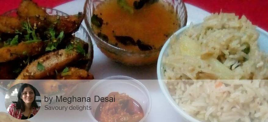 Til Wale Aloo with Chapattis, Palak Khichadi with Tomato Rasam, Choc Balls (Eggless Biscuit base) with Mint Lemonade -  - Homely - By Meghana Desai - 1