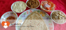 Kathal (Jackfruit) Curry with Parathas(5), Salad, Papad, Pickle and Rava Halwa -  - Homely - By Nidhi P. - 1