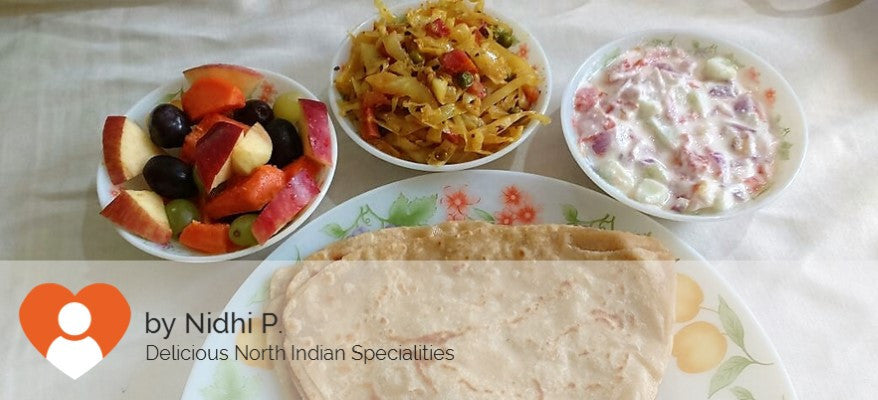 Cabbage Curry with Paratha (5), Curd Salad and Fruit Chat -  - Homely - By Nidhi P.