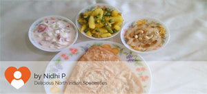 Aloo Mater with Paratha(5), Curd Salad and Rava Halwa -  - Homely - By Nidhi P. - 1