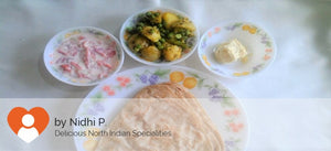 Aloo Mater (dry) with Parathas(5)  and Curd-Salad -  - Homely - By Nidhi P. - 1