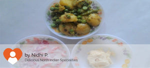 Aloo Mater (dry) with Parathas(5)  and Curd-Salad -  - Homely - By Nidhi P. - 2