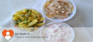 Aloo Mater with Paratha(5), Curd Salad and Rava Halwa -  - Homely - By Nidhi P. - 2