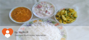Aloo Mater with Dal Fry, Rice and Curd Salad -  - Homely - By Nidhi P.