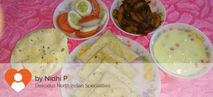 Aloo Parwal Masala with Ghee Roti (5), Papad, Salad -and Fruit Custard -  - Homely - By Nidhi P.