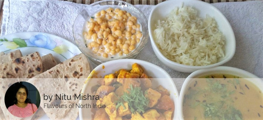 Aloo Shimla Mirch Paneer Mix Sabji with Dal Tadka, Rice, Roti and Boondi Raita -  - Homely - By Nitu Mishra - 1