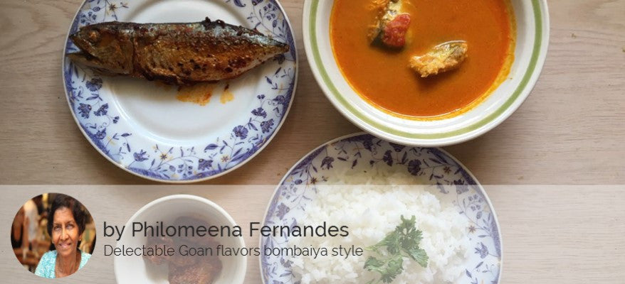 Fried mackerel with Recheado Masala, Goan Fish Curry, Rice and Pickle -  - Homely - By Philomeena Fernandes