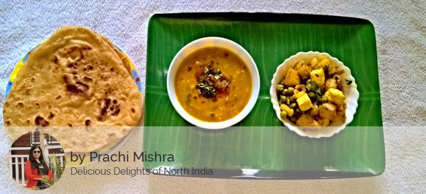 Aloo Matter Paneer Sabji, Mix Dal Fry with Parathas -  - Homely - By Prachi Mishra