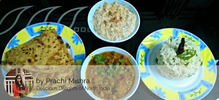 Aloo Parathas, Green Peas Tomato Masala Sabji, Curd Rice & Vermicelli Kheer -  - Homely - By Prachi Mishra