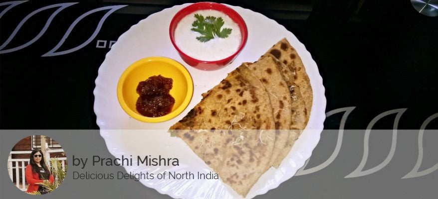 Aloo Paneer Stuffed Parathas, Curd, Pickle and Dessert - Rice Kheer -  - Homely - By Prachi Mishra