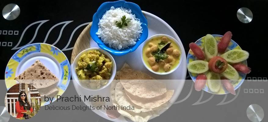 Alu ki Sabzi, Butter Roti, Kadhi, Steamed Rice, Fried Papad & Dessert Surprise -  - Homely - By Prachi Mishra