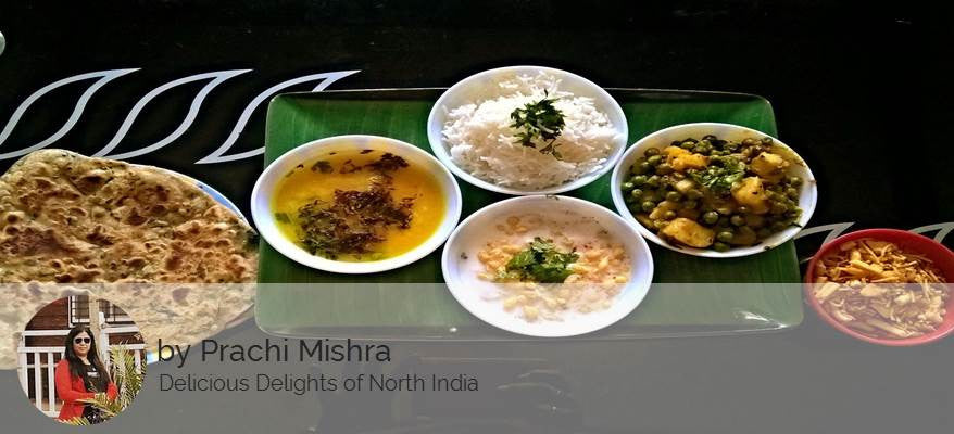 Aloo Matar ,Methi ka Paratha, Steamed Rice, Dal,Farsan, Boondi Ka Raita  and Dessert -  - Homely - By Prachi Mishra