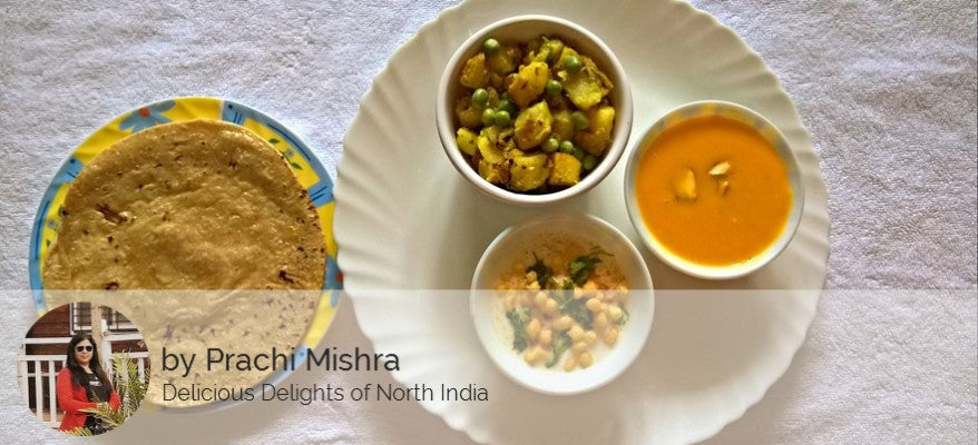 Aloo Matar Sabzi ,Raita , Roti with Aamras -  - Homely - By Prachi Mishra
