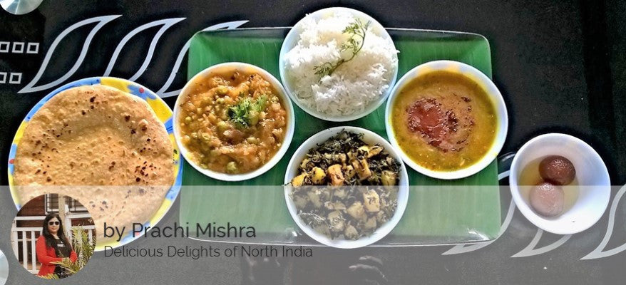 Alu Methi Bhaji, Baigan ka Bharta, Dal Panchmel, Rice, Roti and Gulab Jamun -  - Homely - By Prachi Mishra