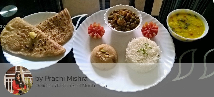 Alu Matar Masala, Dal, Steamed Rice, Parathas and Rawa Halwa for Dessert -  - Homely - By Prachi Mishra