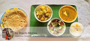 Aloo Mattar ki Sabzi, Dal, Salad, Roti with Sweet Lassi -  - Homely - By Prachi Mishra